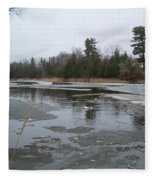 Mississippi River Ice Flow Fleece Blanket