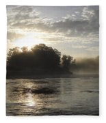 Mississippi River June Sunrise Reflection Fleece Blanket