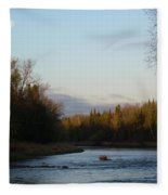 Mississippi River Moon At Dawn Fleece Blanket