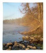 Mississippi River Shades Of Fog Fleece Blanket