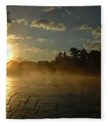 Mississippi River Sunrise Fog Fleece Blanket