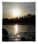 Mississippi River Sunrise Reflection Fleece Blanket