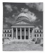 Mississippi State Capitol Bw Fleece Blanket