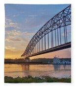 Mississippi Sunrise Crossing Fleece Blanket