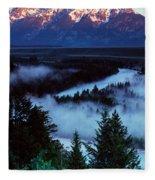 Mist Over Snake River, Sunrise Light Fleece Blanket