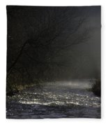 Mist Rising From The River Dove On A Winter's Day Dovedale Peak District Derbyshire England Fleece Blanket