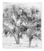 Mistletoe Tree In Black And  White Fleece Blanket