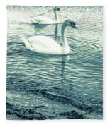 Misty Blue Swans Fleece Blanket