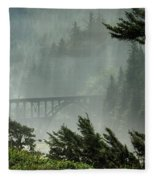 Misty Bridge At Heceta Head Fleece Blanket