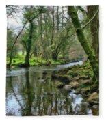 Misty Day On River Teign - P4a16017 Fleece Blanket