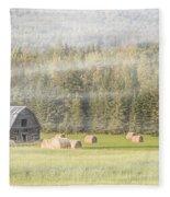 Misty Morning Haybales Fleece Blanket