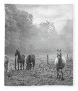 Misty Morning Horses Fleece Blanket