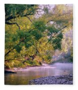 Misty Morning On Nariel Creek Fleece Blanket