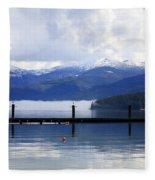 Misty Morning On Priest Lake Fleece Blanket
