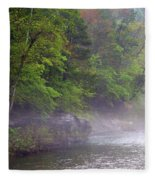 Misty Morning On The Buffalo Fleece Blanket