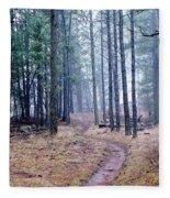 Misty Morning Trail In The Woods Fleece Blanket