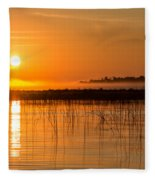 Misty Orange Sunrise On Boy Lake Fleece Blanket