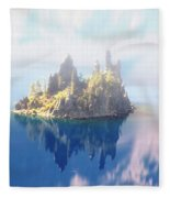 Misty Phantom Ship Island Crater Lake Fleece Blanket