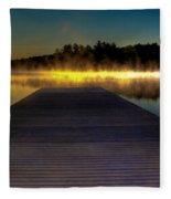 Misty Sunrise On Old Forge Pond Fleece Blanket