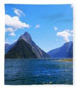 Mitre Peak In Milford Sound New Zealand Fleece Blanket