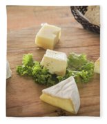 Mixed French Cheese Platter With Bread Fleece Blanket