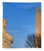 Mlk And Washington Monuments Fleece Blanket