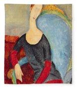 Mme Hebuterne In A Blue Chair Fleece Blanket