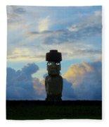 Moai Easter Island Rapa Nui Fleece Blanket