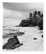 Moalboal Cebu White Sand Beach In Black And White Fleece Blanket