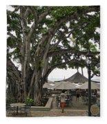 Moana Surfrider Banyan Court - Waikiki Beach Fleece Blanket