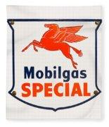 Mobil Gas Vintage Sign Fleece Blanket