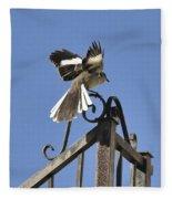 Mockingbird Landing On Fence Fleece Blanket