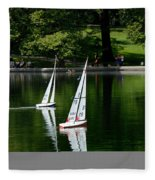 Model Boats Central Park New York Fleece Blanket