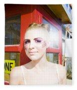 Model In Lace Makeup Fleece Blanket