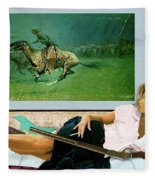 Modeling, Frederick Remingtons, Stampede By Lightning, Advanced Guard Fleece Blanket