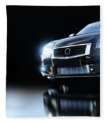 Modern Black Metallic Sedan Car In Spotlight. Banner Fleece Blanket