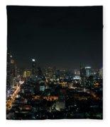 Modern Buildings In Silom Area Of Bangkok Thailand At Night Fleece Blanket