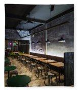 Modern Industrial Contemporary Interior Design Restaurant Fleece Blanket