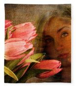 Modern Mona Lisa Fleece Blanket
