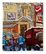 Moe's Corner Snack Bar And Diner Montreal Landmark  Restaurant Canadian Art Carole Spandau Fleece Blanket