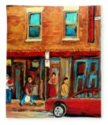 Moishes Steakhouse On The Main By Montreal Streetscene Painter Carole  Spandau  Fleece Blanket