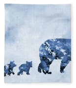 Mom And Baby Bears-blue Fleece Blanket