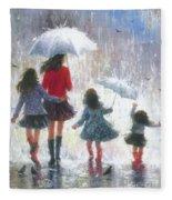 Mom Three Daughters Rain Fleece Blanket