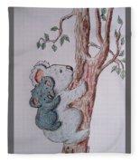 Momma And Baby Koala Fleece Blanket