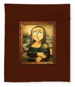 Mona In A Guilded Frame Fleece Blanket