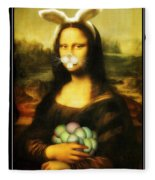 Mona Lisa Bunny Fleece Blanket