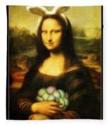 Mona Lisa Easter Bunny Fleece Blanket