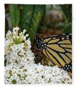Monarch And The Butterfly Bush  Fleece Blanket