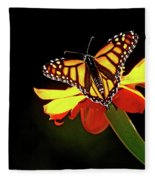 Monarch And Tithonia Light And Shadow Fleece Blanket