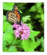 Monarch Butterfly And Honey Bee Fleece Blanket